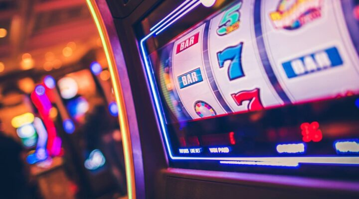 Header image of a brightly lit slot machine screen.