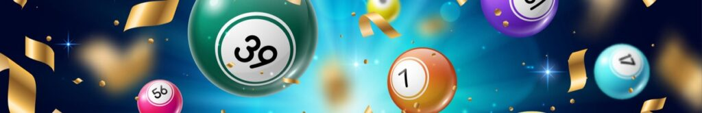An illustration of multicolored bingo balls surrounded by golden confetti.