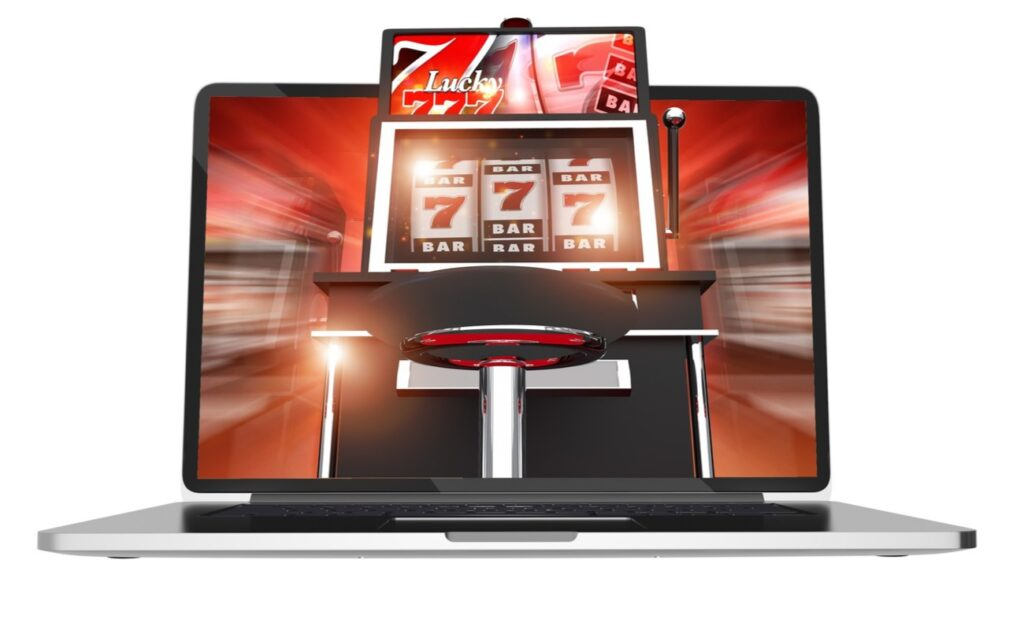 A rendering of a laptop with a slot machine on its screen.