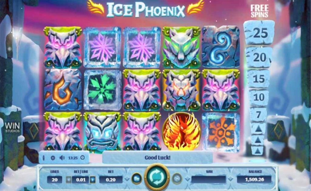 Ice Phoenix slot game showing reels and symbols on frozen background with online slot controls.