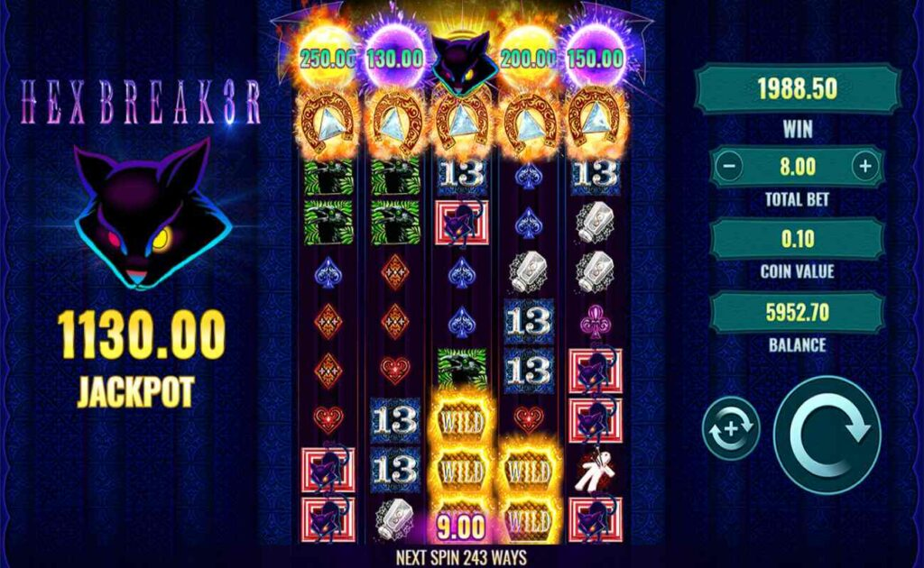 Hexbreak3r online slot with reels expanded fully and jackpot bonus triggered.