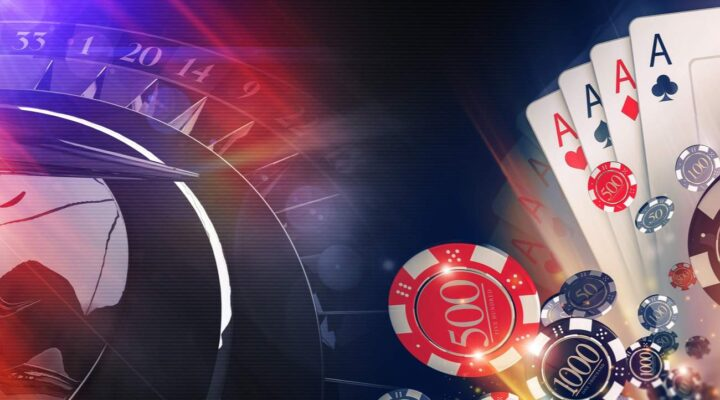 A montage rendering of multiple casino games including roulette and cards.
