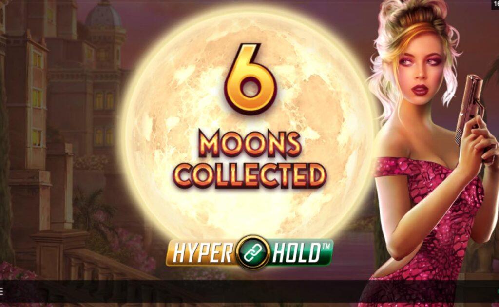 Assassin Moon online casino slot game, showing the HyperHold bonus game.