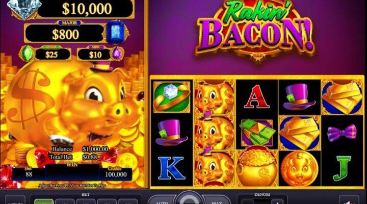 Header image for Rakin' Bacon online slots game.