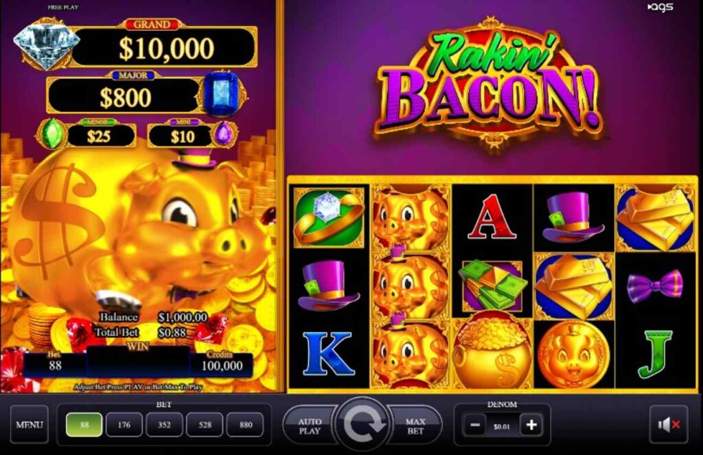 Screenshot of the Rakin' Bacon online slot by AGS showing the reels.