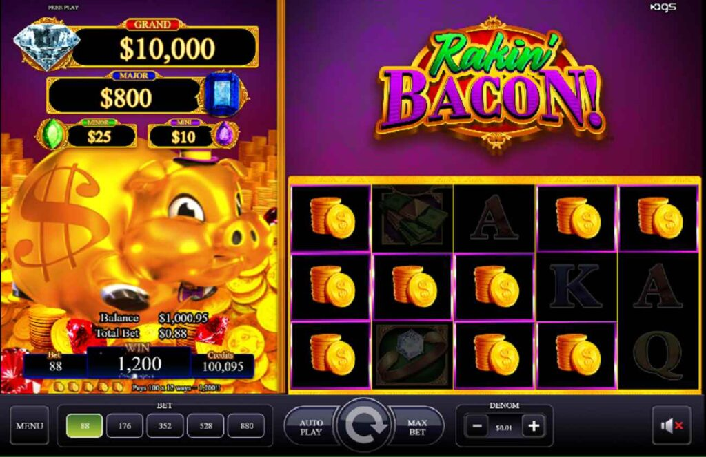 Screenshot showing Rakin' Bacon slot game with stacks of coins symbols on the reels.