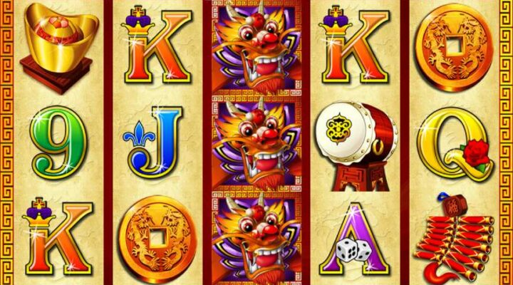 Reels and Ainsworth logo from Dragon Lines online slot game.