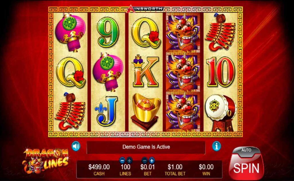 Symbols, reels and buttons for Dragon Lines online slot game.