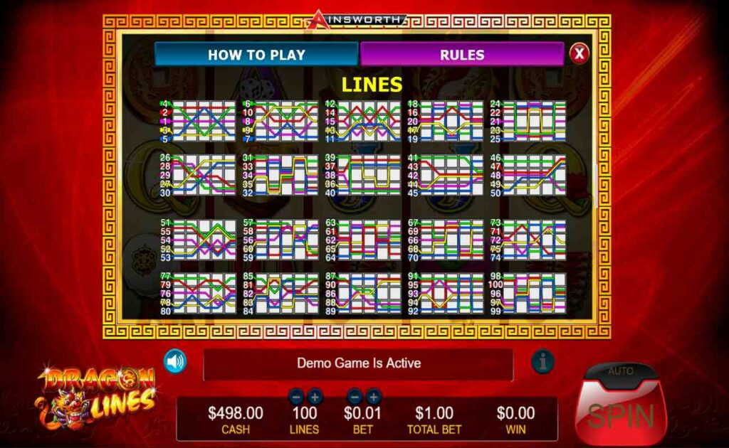 Information on paylines for Dragon Lines online slot game.