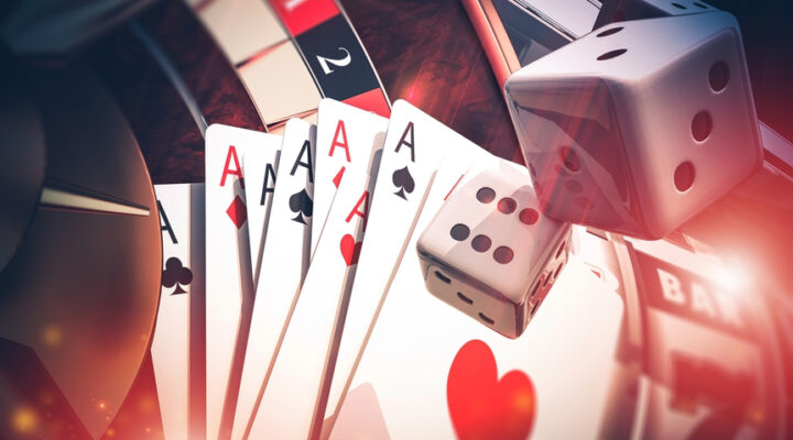 3D render of playing cards and dice.