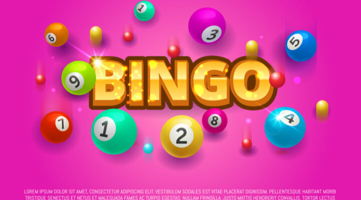 The word bingo in gold writing with a 9 ball on a pink background.