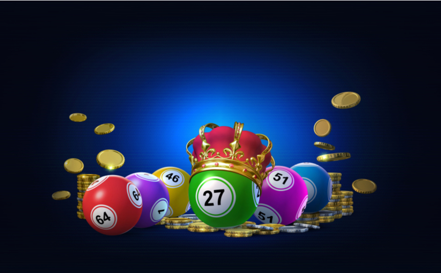 A digital render of bingo balls spelling out the word 'bingo,' with coins and a crown.