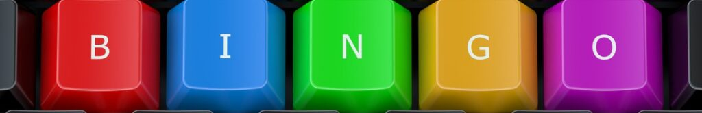 Multi-colored keyboard keys displaying the letters B, I , N, G, O.