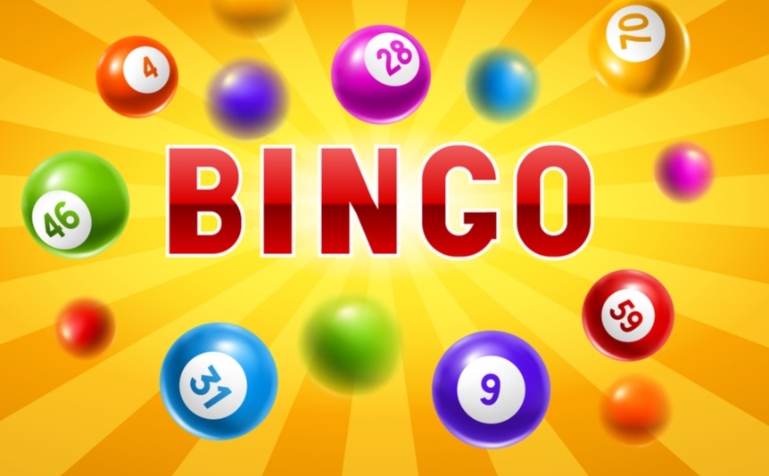 The word bingo in red on a yellow background, with bingo balls bouncing around it.