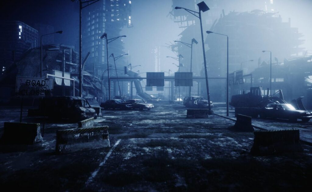 A 3D rendering of a post-apocalyptic world.