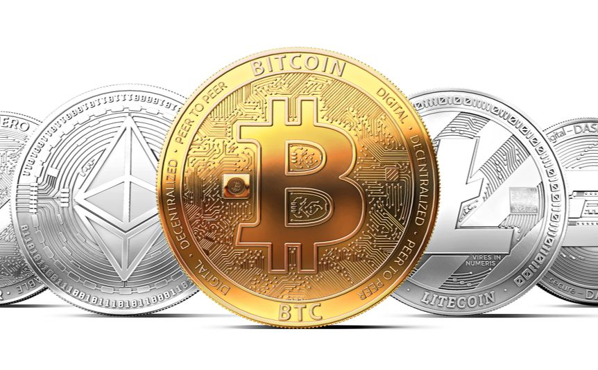 A 3D rendering of different types of cryptocurrencies.