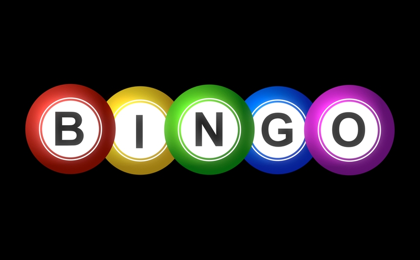 Bingo spelled out in a line of differently colored balls.