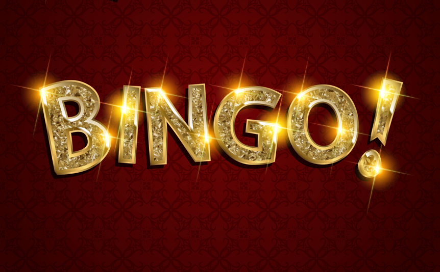 The word 'Bingo!' in sparkly lights against a dark red background.