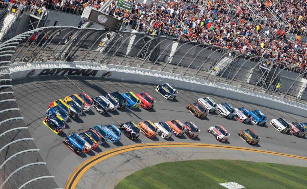 The Monster Energy NASCAR Cup Series teams take to the track for the Daytona 500 at Daytona International Speedway in Daytona Beach, Florida.