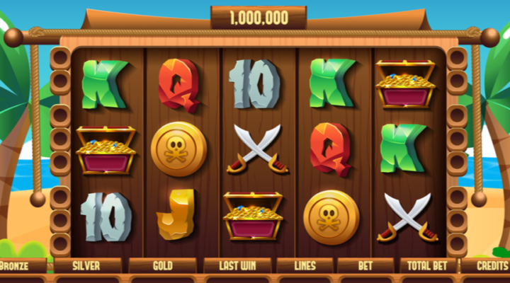 Slot reel showing letters and numbers and a pirate's treasure chest against a wooden background.