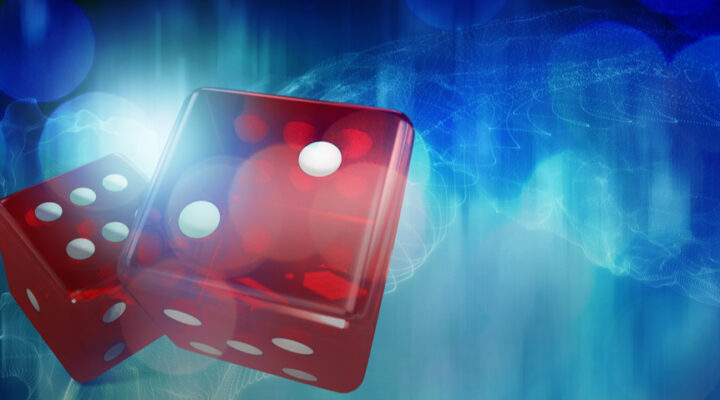 red dice against a blue background - Gambling trivia