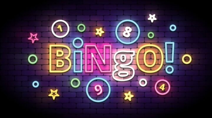 3D illustration of colorful 'Bingo!' neon sign with lottery balls and stars.