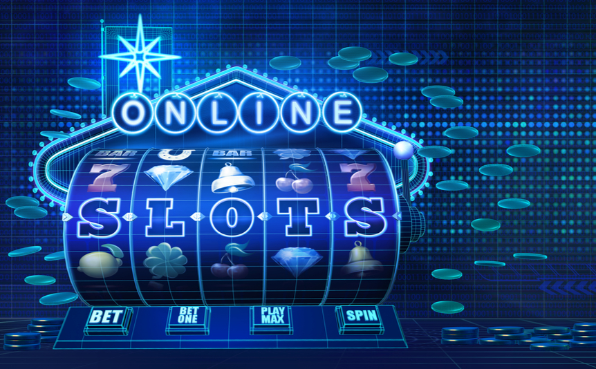 Stylized slot reel displaying the word 'slots' against a blue background.