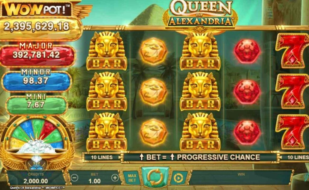 Screenshot of the reels in Queen of Alexandria online slot by Microgaming.