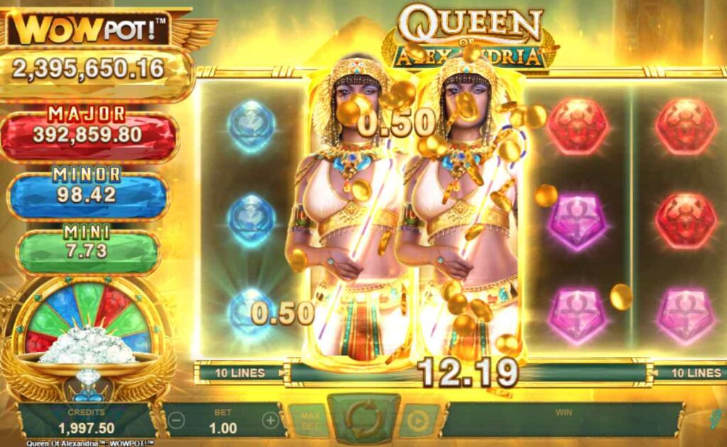 Screenshot of the expanding wilds feature in Queen of Alexandria online slot by Microgaming.