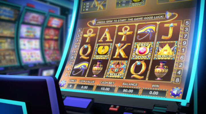 Egyptian symbols on a slot machine.