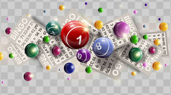 Bingo balls and tickets against a checkered background.
