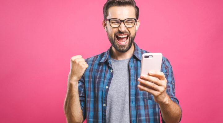 A man celebrates a bingo win.
