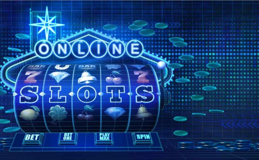 Online slots illustration against a blue background.