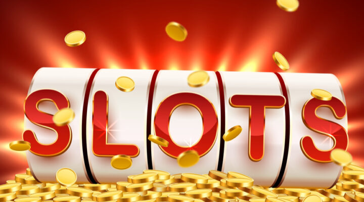 Header image of an online slots concept with red letters spelling out the word slots surrounded by gold coins