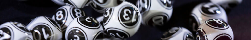 Black and white bingo balls.