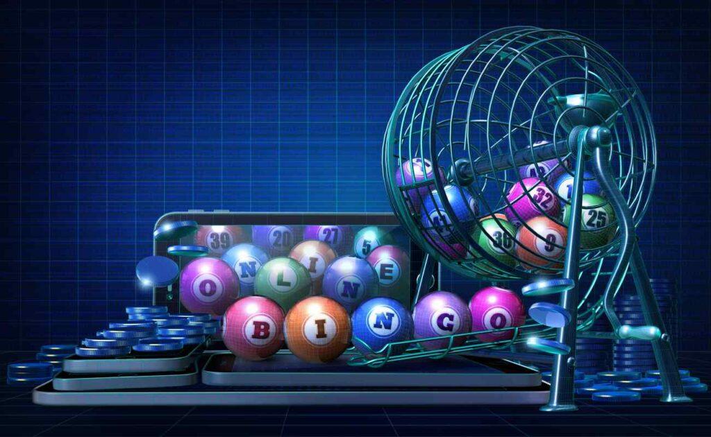 Bingo balls and a bingo basket on top of smartphones.