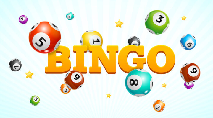 Bingo spelled out in yellow letters surrounded by bingo balls.