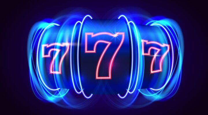 777 neon-colored reel against a dark blue background.