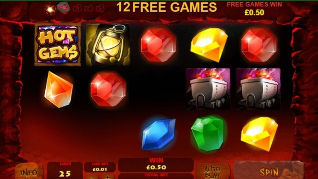 Screenshot of the reels in the Hot Gems online slot showing the free games feature.