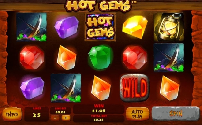Screenshot of the reels in the Hot Gems online slot by Playtech.
