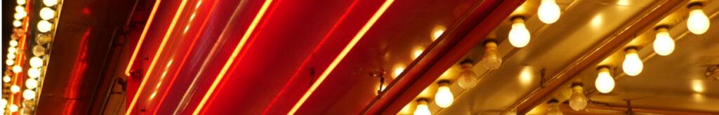 Lights outside a casino at night.