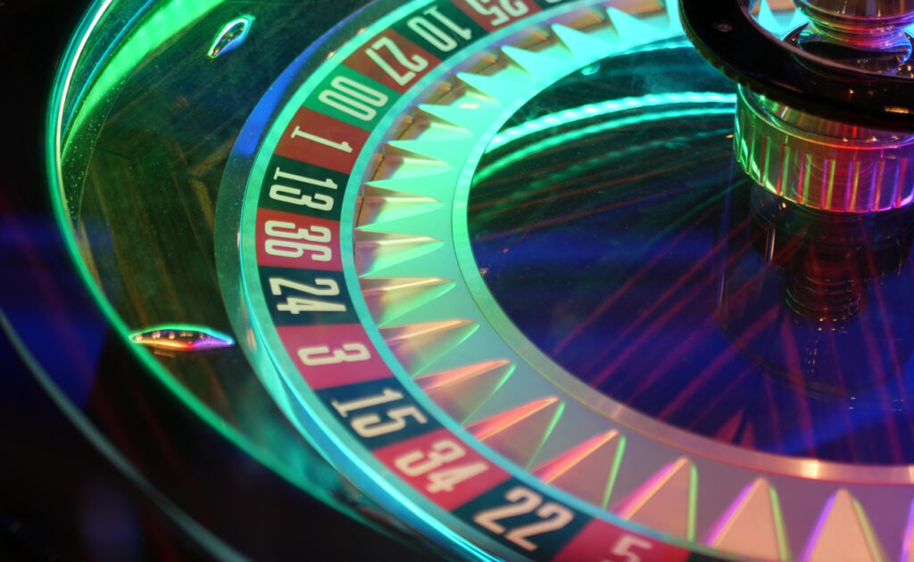 A backlit roulette wheel.