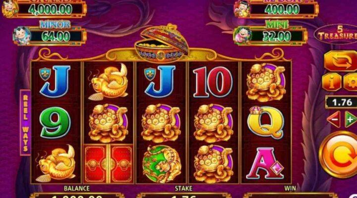 5 Treasures online slot by Scientific Games.