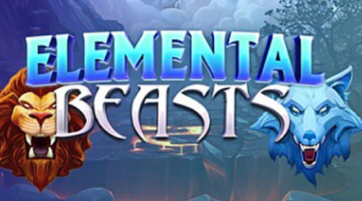 The title screen of the Elemental Beasts online casino slot game.