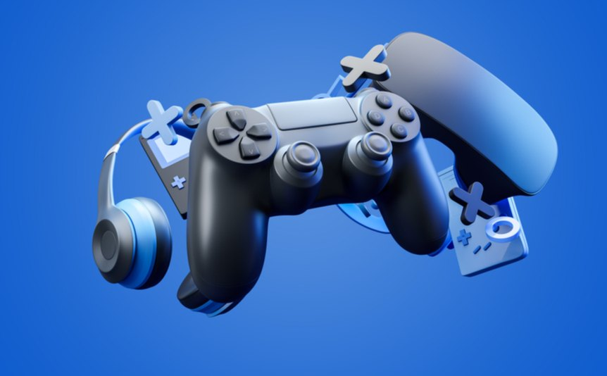A 3D rendering of various gaming gadgets, including a controller, VR headset, and headphones.