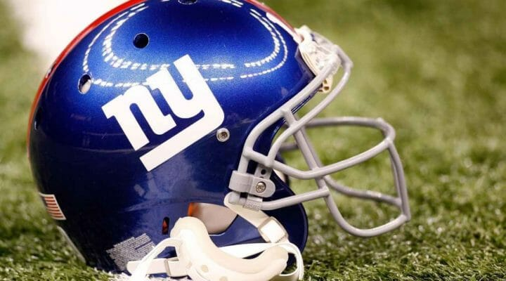 New York Giants helmet on the field