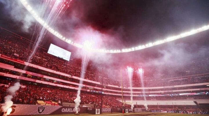 Houston Texans vs Oakland Raiders matchup with fireworks display at the stadium