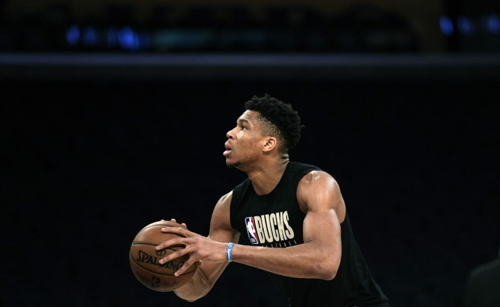 Giannis Antetokounmpo #34 of the Milwaukee Bucks warms up prior to the start of a basketball game