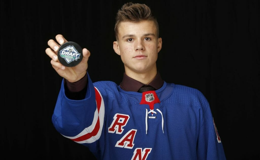 Hunter Skinner poses after being selected 112nd overall by the New York Rangers during the 2019 NHL Draft at Rogers Arena