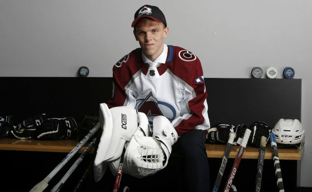 Trent Miner poses after being selected 202nd overall by the Colorado Avalanche during the 2019 NHL Draft at Rogers Arena